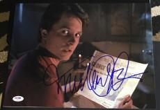 """Michael J. Fox Signed Autograph """"back To The Future"""" News Photo Psa/dna W94452"""