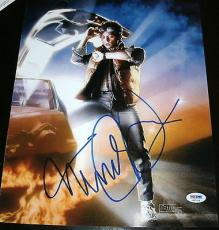 "Michael J. Fox Signed Autograph ""back To The Future"" Poster Photo Psa/dna X87226"