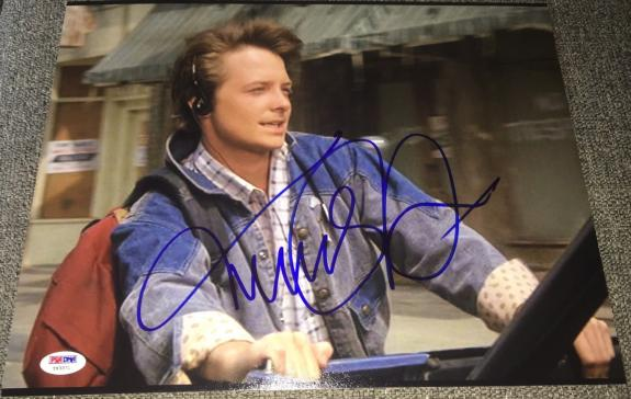 "Michael J. Fox Signed Autograph ""back To The Future"" Rare Image Photo Psa/dna B"