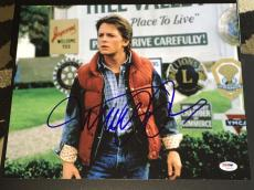 "Michael J. Fox Signed Autograph ""back To The Future"" Rare Photo Psa/dna W94454"