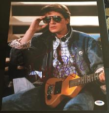 """Michael J. Fox Signed Autograph """"back To The Future"""" Shades Photo Psa/dna W58925"""