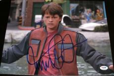 "Michael J. Fox Signed Autograph ""back To The Future"" Vest Photo Psa/dna X87227"