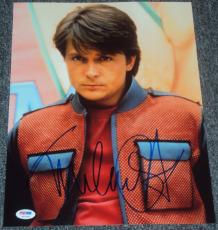 Michael J Fox Signed Autograph Back To The Future Vest Pose Photo Psa/dna W37983