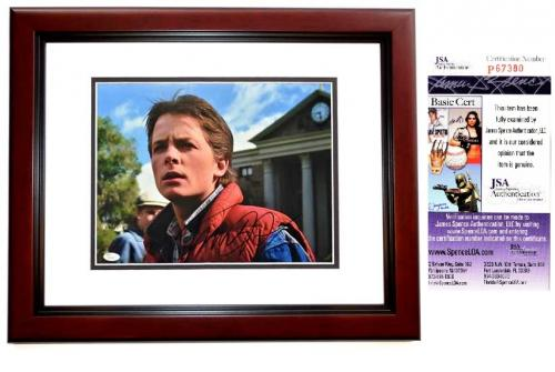 Michael J. Fox Signed - Autographed Back to the Future - Marty McFly 11x14 inch Photo - MAHOGANY CUSTOM FRAME - JSA Certificate of Authenticity (COA)