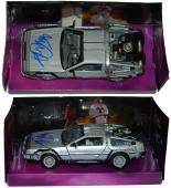 Michael J Fox Signed Back To The Future 1:24 Scale Die Cast Delorean Time Machine Car