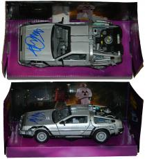 Michael J Fox Signed Back To The Future 1:24 Scale Die Cast Delorean Time Machine Car