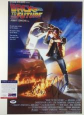 MICHAEL J FOX SIGNED BACK TO THE FUTURE BTTF 12x18 PHOTO MOVIE POSTER PSA/DNA