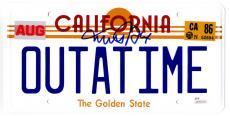Michael J Fox Signed Back To The Future California 'OUTATIME' Delorean Replica License Plate