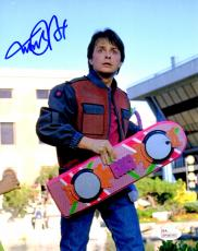 Michael J Fox Signed Back To The Future Holding Hover Board 8x10 Photo