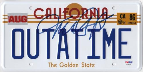Michael J. Fox Signed Back To The Future Outatime License Plate Psa Coa Ad48356