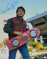 Michael J Fox Signed Back To The Future Part II Holding Hover Board 16x20 Photo