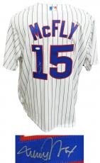 Michael J Fox Signed Chicago Cubs 'McFly' White Pinstripe Majestic Jersey