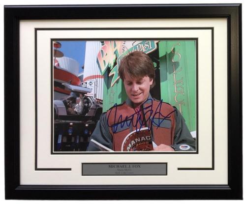Michael J. Fox Signed Framed 11x14 Back To The Future Photo PSA U45995