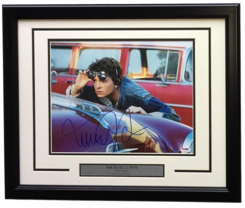 Michael J. Fox Signed Framed 11x14 Back To The Future Photo PSA U73123