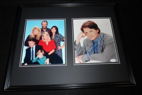 Michael J Fox Signed Framed 16x20 Photo Display JSA Family Ties