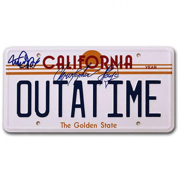 Michael J. Fox/Christopher Lloyd Autographed 'OUTATIME' License Plate