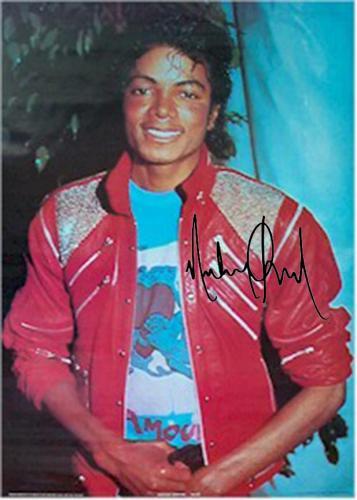 Michael Jackson Autographed Facsimile Signed Red Jacket Poster
