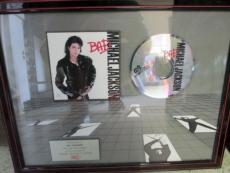 "Michael Jackson ""Bad"" Album Music Sales Award Jim Caparro Collection"