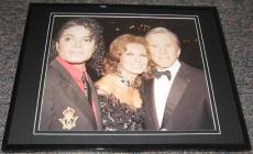 Michael Jackson Sophia Loren & Kirk Douglas Framed 8x10 Poster Photo