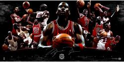 "Michael Jordan Chicago Bulls Autographed 36"" x 18"" 2009 Hall of Fame Collage Photograph - Limited Edition of 123 (UDA)"