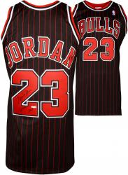 Michael Jordan Chicago Bulls Autographed Black & Pinstripe Jersey with HOF 2009 Inscription - Limited Edition of 123