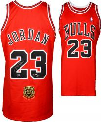 Michael Jordan Chicago Bulls Autographed Red Jersey with ROY Patch & HOF 2009 Inscription - Limited Edition of 123