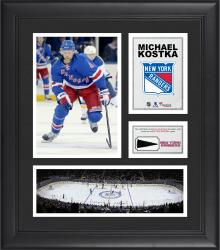 """Michael Kostka New York Rangers Framed 15"""" x 17"""" Collage with Piece of Game-Used Puck"""