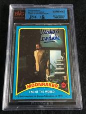 Michael Lonsdale Signed 1979 James Bond Moonraker Card Autograph Jsa/bvs Bgs