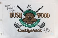 Michael O'Keefe and Cindy Morgan Dual Signed Bushwood Caddyshack Golf Pin Flag J