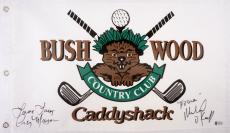 Michael O'Keefe & Cindy Morgan Autographed Bushwood Caddyshack Golf Flag - Beckett COA