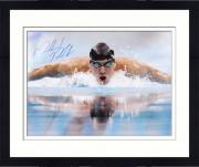 """Framed Michael Phelps Autographed 16"""" x 20"""" Swimming Photograph"""