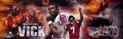 Michael Vick Atlanta Falcons Autographed Panoramic Collage Photograph-Limited Edition of 107 - Mounted Memories