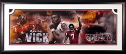 Michael Vick Atlanta Falcons Framed Autographed Panoramic Photograph-Limited Edition of 107 - Mounted Memories