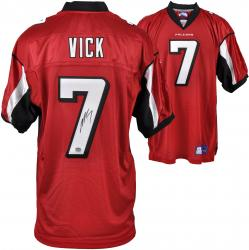 Autographed Michael Vick Jersey - Reebok Red Mounted Memories