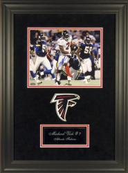 """Michael Vick Atlanta Falcons Deluxe Framed Autographed 8"""" x 10"""" Photograph with Team Logo"""
