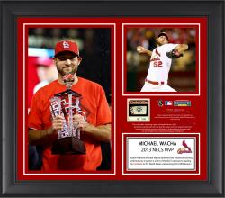Michael Wacha St. Louis Cardinals 2013 National League Champions MVP Framed 2-Photo Collage with Game-Used Baseball - Limited Edition of 500 - Mounted Memories