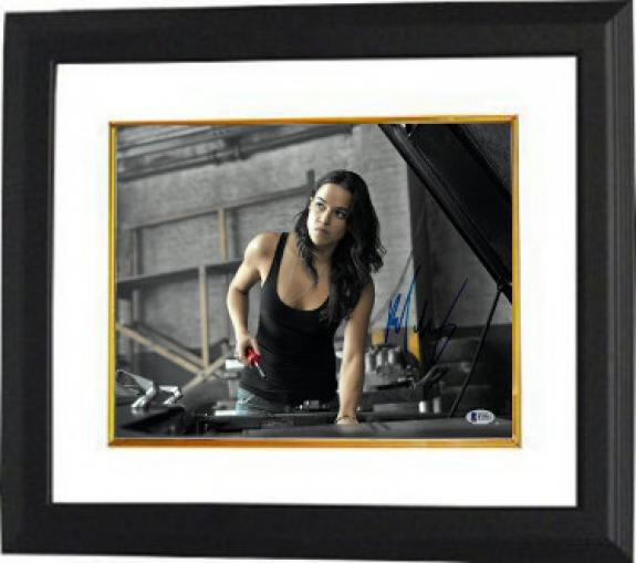 Michelle Rodriguez signed The Fast and the Furious Letty 11X14 Photo Custom Framing (horizontal)- Beckett Holo #B70602