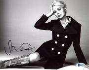 "Michelle Williams Autographed 8"" x 10"" Sitting On Floor With Hand On Head Photograph - Beckett COA"