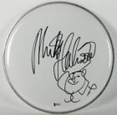 Mick Fleetwood Signed 12 Inch White Drumhead w/Sketch BAS #B38525