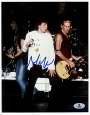 """Mick Jagger Autographed 8""""x 10"""" The Rollinig Stones Singing In White Shirt Photograph - Beckett COA"""