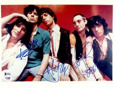 "Mick Jagger, Keith Richards, & Charlie Watts Autographed 11"" x 14"" The Rolling Stones Posed Photograph - BAS COA"