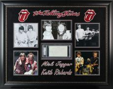 Mick Jagger & Keith Richards Signed & Framed Rolling Stones Cut Display PSA/DNA