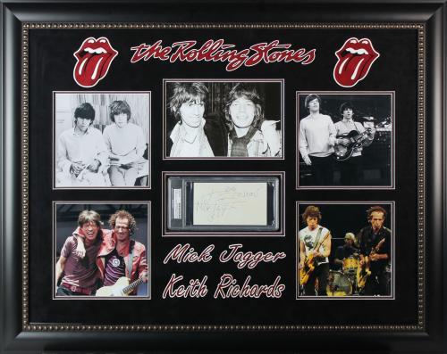 Mick Jagger & Keith Richards Signed & Framed Rolling Stones Cut Display PSA/DNA