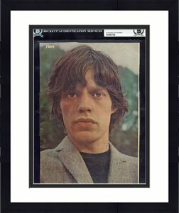 Mick Jagger Rolling Stones Signed 8x10 7x10 Magazine Photo BAS Slabbed