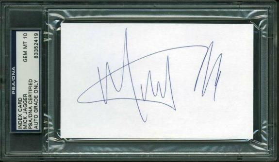Mick Jagger Signed 3X5 Index Card Auto Graded Gem Mint 10! PSA Slabbed