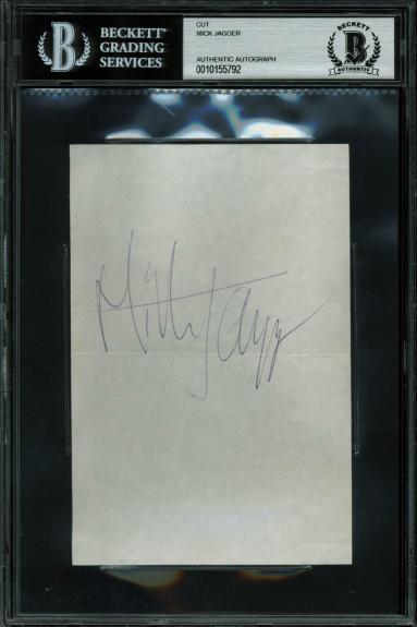 Mick Jagger Signed 4x6 Vintage Cut Signature Autographed BAS Slabbed