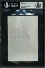 Mick Jagger Signed 4x6 Vintage Cut Signature Autographed BAS Slabbed