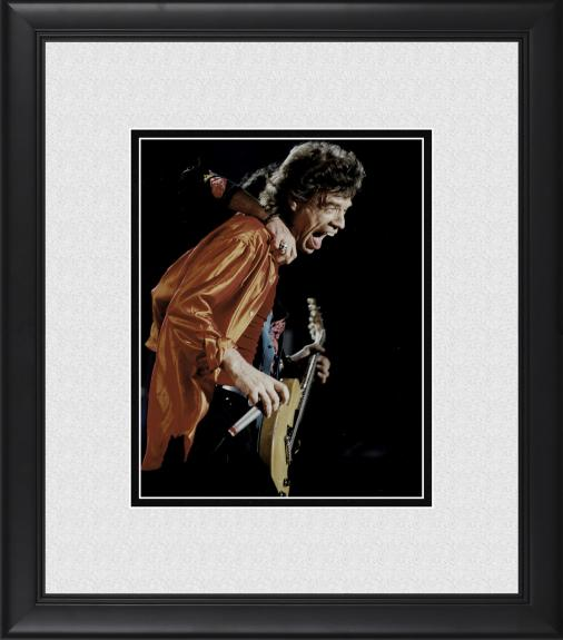 "Mick Jagger The Rolling Stones Framed 8"" x 10"" in Orange Shirt Photograph"