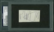 Mick Jagger The Rolling Stones Signed 1.5X2.75 Cut PSA/DNA Slabbed