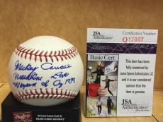 Mickey Carroll Munchkin Wizard Of Oz Signed M.l. Baseball Jsa Q17007